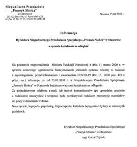 """Informacja Dyrektora Niepublicznego Przedszkola Publicznego """"Promyk Słońca"""" w Staszowie w sprawie kształcenia na odległość"""